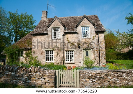 rural Cotsworld stone home in countryside of England