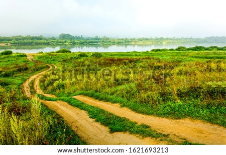 Rural country field road view