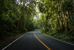 Rural Country Road on the Mountain of Doi Phuka National Reserved Park, Nan Province, Thailand