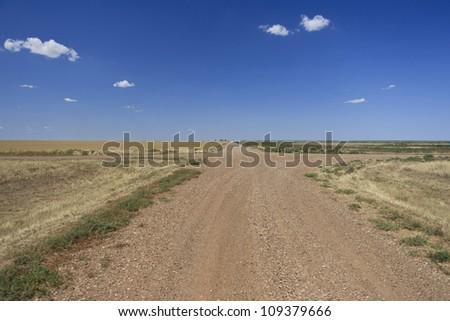 Rural farm crossroads in Oklahoma, USA.