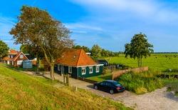 Rural farm house landscape. Farmland scene. Rural country house view. Farm house view