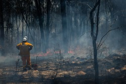 Rural Firefighter observes bushfire in Glen Innes