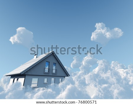 rural house flyuing on clouds on blue sky background - stock photo