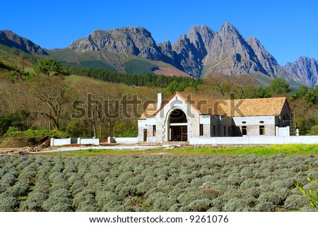 Rural house in front of awesome mountain. Shot in August, Stellenbosch, South Africa.