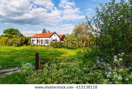 Rural house in summer nature landscape #613138118