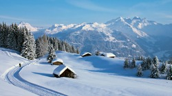 rural house in winter covered with snow. landscape with village home near forest. building of a wooden house. concept of countryside recreation in nature