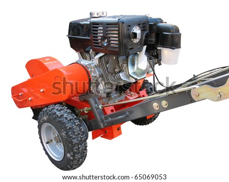 rural instruments -hand tractor plough isolated over white background