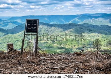 Rural landscape and Stolica mountains, Slovak republic. Forest calamity theme. Zdjęcia stock ©