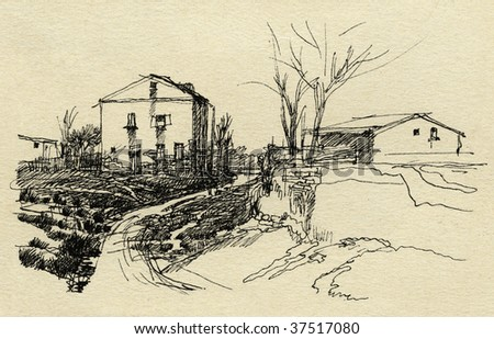 Rural landscape, drawn with ink on paper.