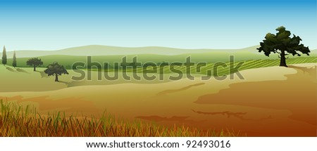 Rural landscape from countries of southern Europe, panoramic view, illustration