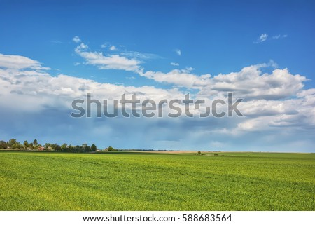 Rural landscape - meadows with thunderclouds over them.