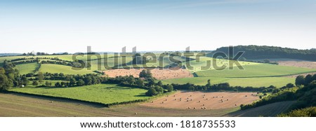 rural landscape of countryside with cornfields and meadows in regional parc de caps et marais d'opale in the north of france Photo stock ©