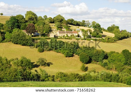 Rural Landscape of Green Fields in the Avon Valley near Bath in Somerset England