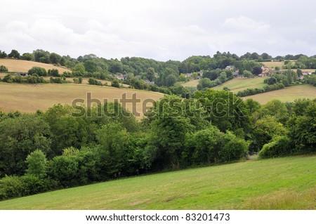 Rural Landscape of the Avon Valley near Bath in Somerset England