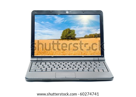 Rural landscape on screen of notebook