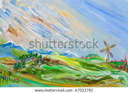 Rural landscape. The man in the carriage rides on the road to the village. The mountains and the windmill in the background. Gouache illustration.
