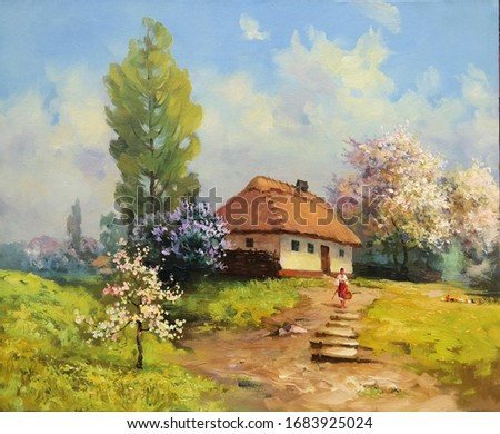 rural landscape with a house and blooming trees,oil painting, fine art, spring, nature, figures of people, architecture, sunny day