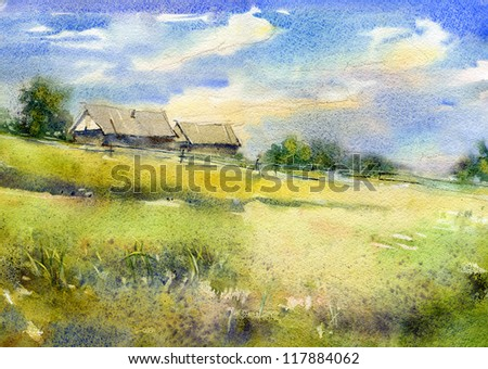 Rural landscape with a log houses Watercolor