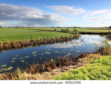 rural landscape with ditch