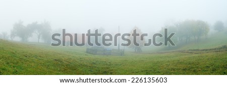 Rural landscape with fog. Autumn in the mountains. Panoramic view of the yard garden. Carpathians, Ukraine, Europe