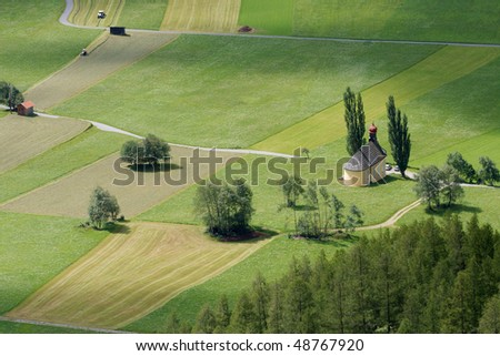 Rural landscape with green fields viewed from above