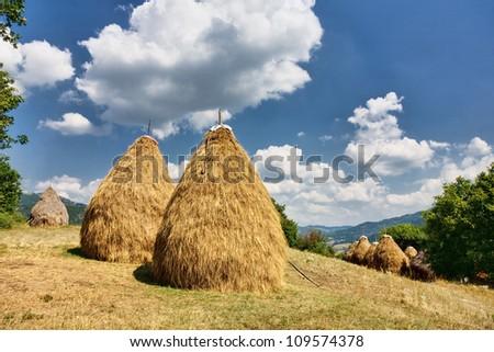 Rural landscape with haystacks
