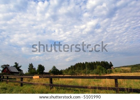 Rural landscape with the lop-sided wooden fence. Behind a fence a meadow with the cow and a small house