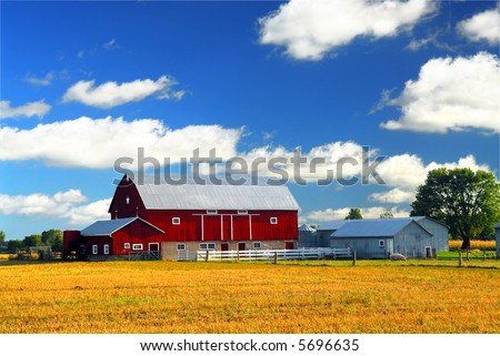 Rural lanscape with red barn in rural Ontario, Canada. - stock photo