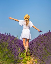 Rural lifestyle, young blonde caucasian woman in white dress and straw hat in a lavender field with her purple flower in Olite. Navarra, Spain. Walking backwards among the flowers