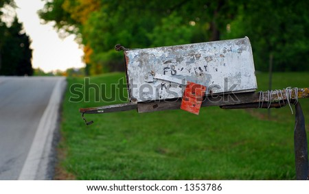 Rural Mailbox with Chipped Paint and Open Door