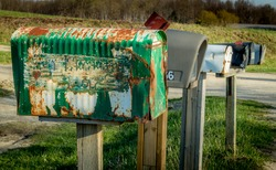 Rural Mailboxes in a Row on a Country Road in Southwestern Ontario, Canada