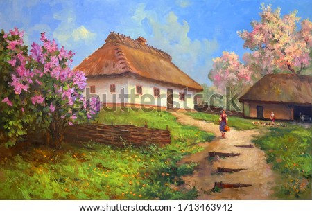 rural manor in spring during the flowering period of trees,oil painting on canvas, fine art, rural landscape, springtime, village, architecture, house, nature,rural backyard