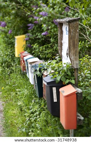Rural post boxes at a country road