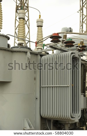 Rural power station in cloudy day