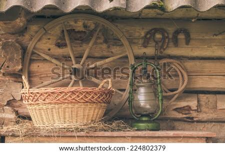 Rural retro still life. Table near the granary