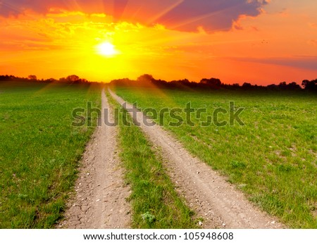 rural road across meadow to sunset