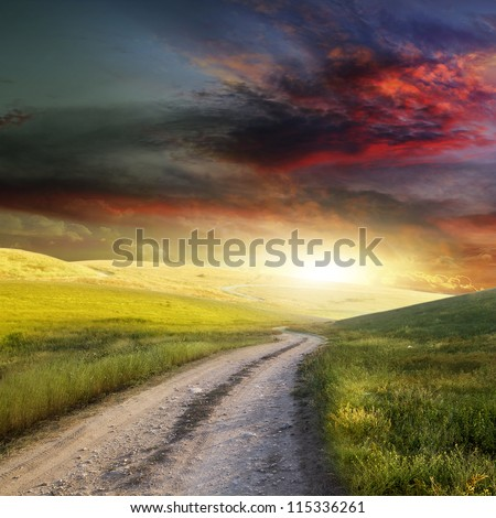Rural road and the blue sky