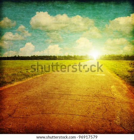 Rural road at sunset in grunge and retro style.