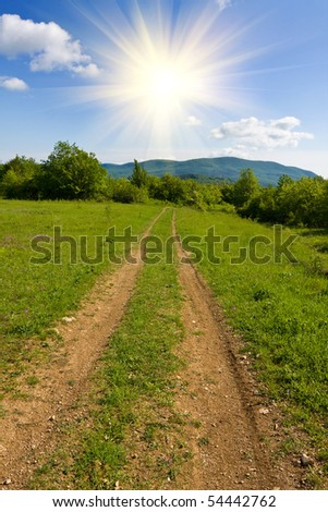 Rural road in mountains in nice summer day
