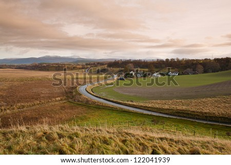 Rural road in the Badenoch & Strathspey area of the Scottish Highlands