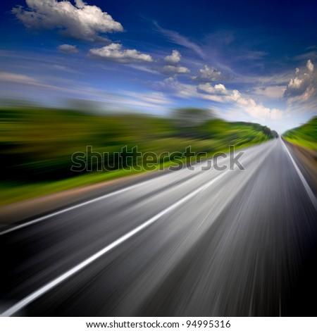 Rural road. Motion blur.