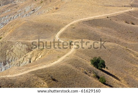 rural road on deserted land