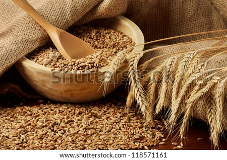 Rural scene with grains and ears of wheat