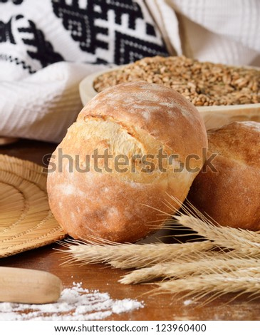 Rural scene with homemade bread
