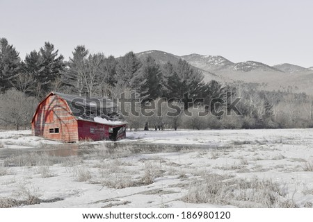 Rural Scene with Old Barn and field in the mountains with color filter