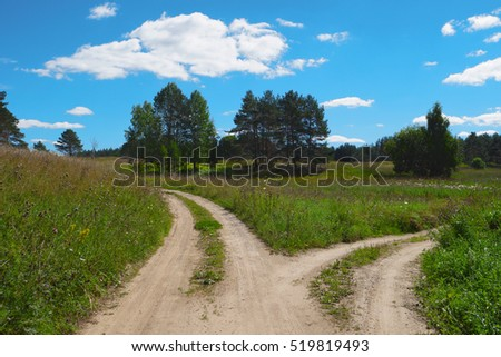 Rural scenic landscape with crossroad on hill in forest. Two different directions. Concept of choose the correct way. Right and left path. Junction, fork, split road. Beautiful summer scenery.