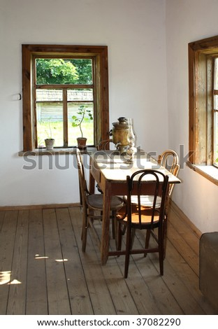 Rural simple interior in old village cottage