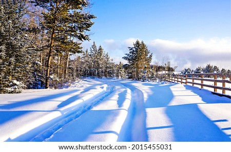 Rural snow road in winter. Winter snow scene. Snowy winter road