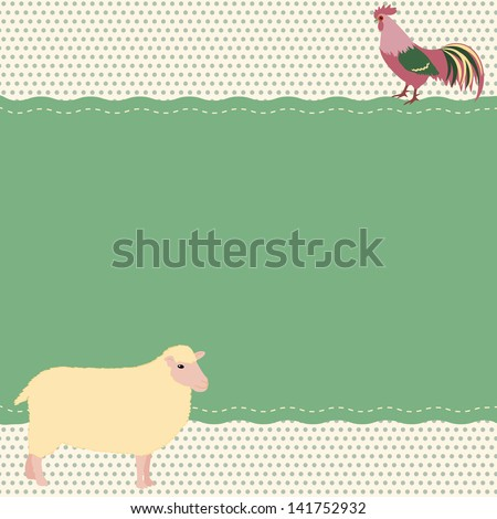Rural style card with sheep and rooster. Raster version.