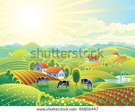 Rural summer landscape with cows.